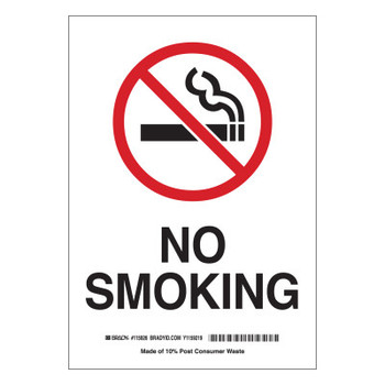 Brady No Smoking Signs, 7w x 10h, Black/Red on White, Polyester (1 EA/CS)