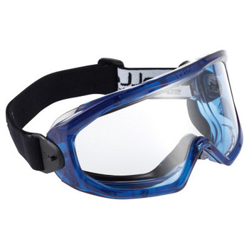 Bolle SUPER BLAST Safety Goggles, One Size, Clear, Blue Frame, Anti-Fog, Anti-Scratch (10 BX/EA)