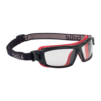 Bolle UTLIM8 Safety Goggles, One Size, Clear, Red Frame, Anti-Fog, Anti-Scratch (10 BX/EA)
