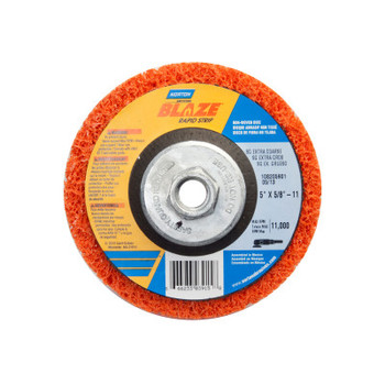 Norton Bear-Tex Blaze Rapid Non-Woven Depressed Center Discs, 5 in x 5/8 in - 11, 11000 RPM (10 BX/CA)