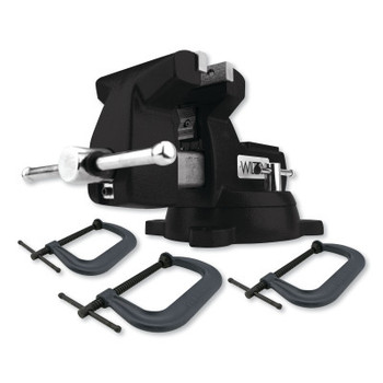 JPW Industries Holding Strong Kit, Black 746 Mechanics Vise & 3-Piece 400 Series C-Clamp Set (1 EA/EA)