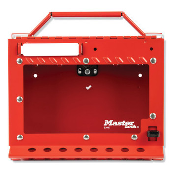 Master Lock Red Steel Group Lockout Box, Max Number of Padlocks: 15, 6-7/8 in x 8-3/8 in (1 EA/CA)