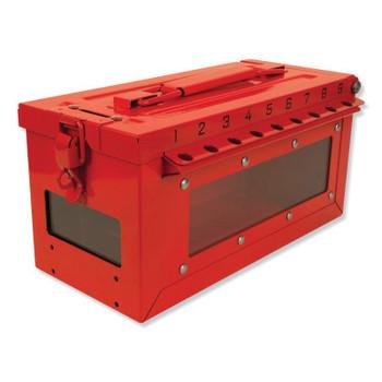 Master Lock Red Steel Group Lockout Box, Max Number of Padlocks: 19, 5-43/64 in x 6-27/64 in (1 EA/CS)