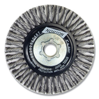Norton Wire Wheel Brushes, 4 in Dia., Carbon Steel, 20,000 rpm (6 PK/EA)