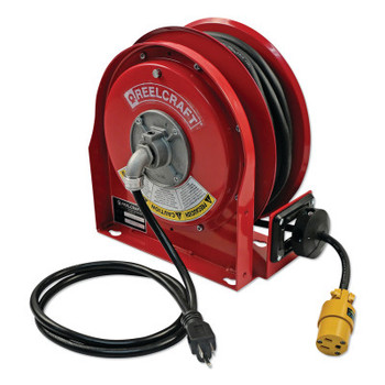 Reelcraft 12/3 x 30ft Compact Power Cord Reel, 15A Single GFCI (1 EA/CA)