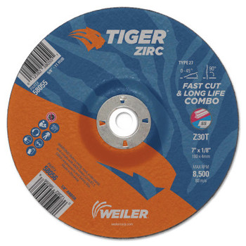 Weiler Tiger Zirc Combo Wheels, 4 in Dia, .035 in Thick, 1/4 in Arbor (25 BX/CT)