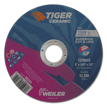 Weiler Tiger Ceramic Cutting Wheels, Type 27, 4 in Dia., 1/16 in Thick, 1/4 in Arbor (25 BX/ROL)