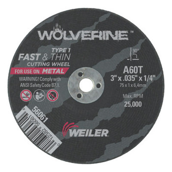Weiler Wolverine Thin Cutting Wheels, 3 in Dia, 36 Grit, Aluminum Oxide (50 BX/RL)