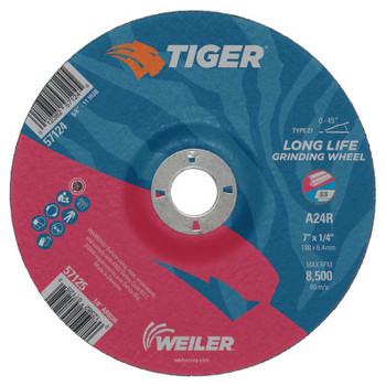 Weiler Tiger Grinding Wheels, 4 in Dia, 1/4 in Thick, 3/8 in Arbor (10 BX/ROL)