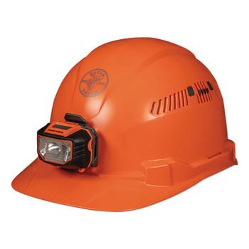 Klein Tools Hard Hat, Vented, Orange Cap Style with Headlamp (1 EA/CA)