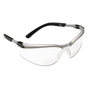 3M BX Safety Eyewear, +2.0 Diopter Polycarbon Hard Coat Lenses, Silver/Black Frame (20 EA)