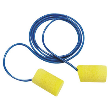 3M E-A-R Classic Foam Earplugs, PVC, Yellow, Metal Detectable with Cord (200 Pair)