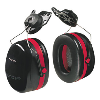 3M Optime 105 Earmuffs, 27 dB NRR, Black/Red, Cap Attached (1 EA)