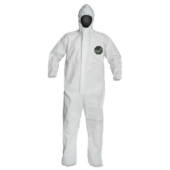 DuPont ProShield 50 Coveralls, L, Hood, Elastic Wrists/Ankles, Zip, Serged , Storm Flap (25 EA)