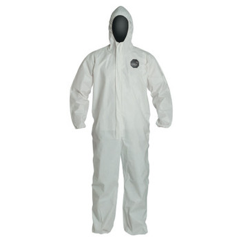 DuPont ProShield NexGen Coveralls with Attached Hood, White, Large (25 EA)