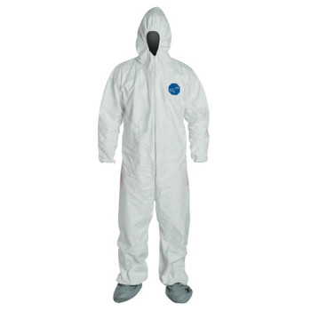 DuPont Tyvek Coveralls With Attached Hood and Boots, White, X-Large (25 EA)