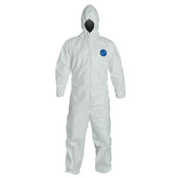 DuPont Tyvek Coveralls with Attached Hood, White, Large, With Hood (25 EA)