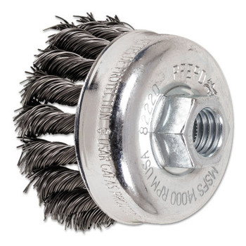 Advance Brush Mini Knot Cup Brush, 2 3/4 in Dia., 5/8-11 Arbor, .02 in Carbon Steel Wire (1 EA)