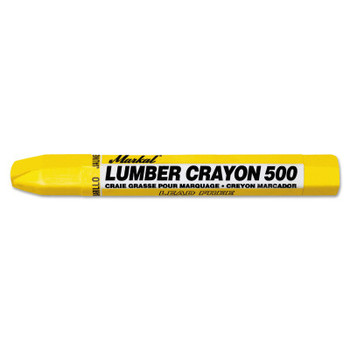 Markal #500 Lumber Crayons, 1/2 in dia, 4 5/8 in, Yellow (12 EA)