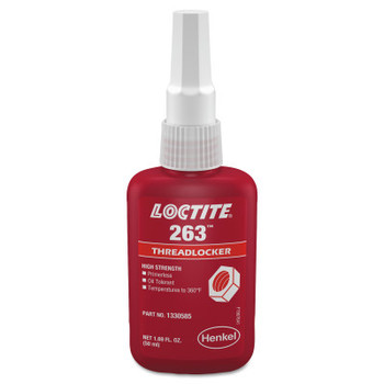 LOCTITE 263 Threadlockers, High Strength, 50 mL, 1 in Thread, Red (1 EA)