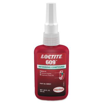 LOCTITE 609 Retaining Compound, General Purpose, 50 mL Bottle, Green, 3,000 psi (1 BTL)
