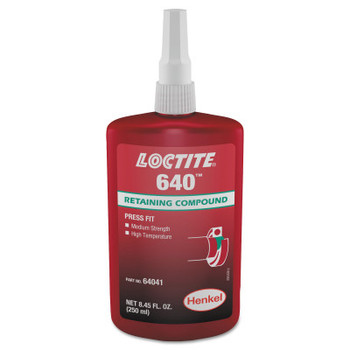 LOCTITE 640 Retaining Compound, Med Strength/High Temp, 250mL Bottle, Green, 3000 psi (1 BTL)