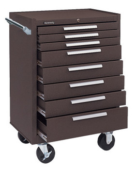 Kennedy Industrial Series Roller Cabinets, 27 x 18 x 39, 8 Drawers, Brown, w/Slide (1 EA)