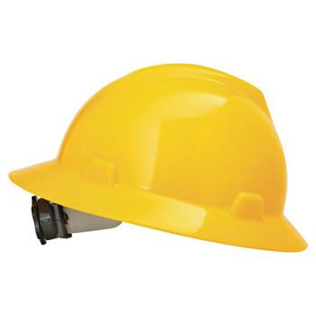 MSA V-Gard Protective Hats, Fas-Trac Ratchet, Hat, Yellow (1 EA)