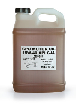 LUBRIPLATE GPO MOTOR OIL - SAE 15W-40 CJ-4, 2 1/2 gal. Jug, (2 JUG/CS)