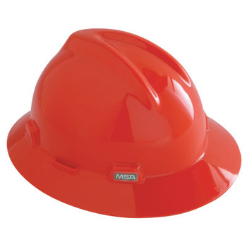MSA V-Gard Protective Hats, Fas-Trac Ratchet, Slotted Cap, Orange (1 EA)