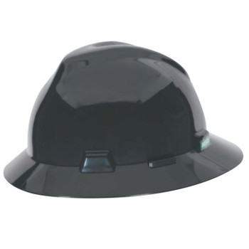 MSA V-Gard Protective Hats, Fas-Trac Ratchet Suspension, 6 1/2 - 8, Black (1 EA)