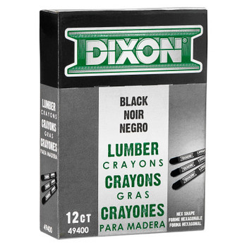 Dixon Ticonderoga Lumber Crayons, 1/2 in X 4 3/4 in, Carbon Black (12 MKR)