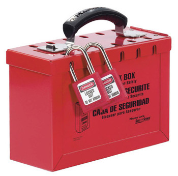 Master Lock Group Lock Box, 9 1/4 in L x 6 in H x 3 3/4 in W, Steel, Red (1 EA)