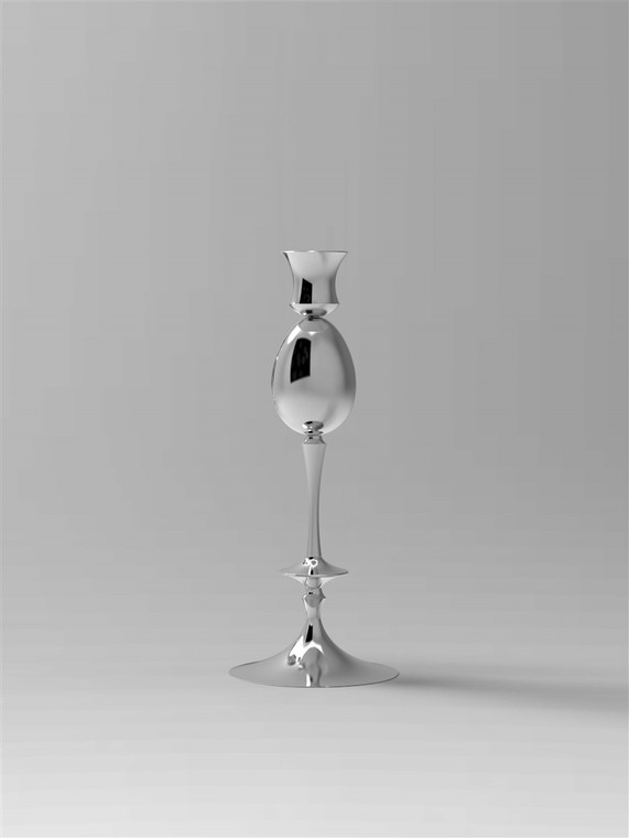 Single Candlestick and Keepsake Egg-Vault in polished silver finish.