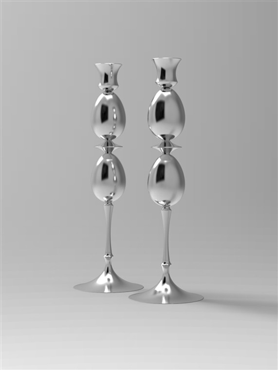 Set of Two Candlesticks, Double Keepsake Egg-Urn