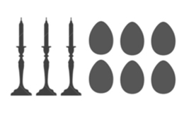 Outline of 3 Candlesticks with 6 Egg-shaped cremation keepsake Urns.