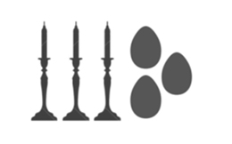Outline of 3 Candlesticks with 3 Egg-shaped cremation keepsake Urns.