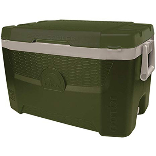 Igloo Sportsman Quantum 55 Cooler with fish measuring guide and cup holders on lid