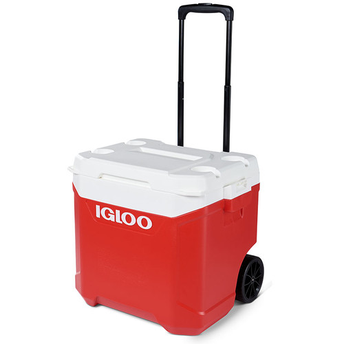 The Igloo Latitude 60 wheeled cool box includes some integrated cup holders moulded into the lid and a telescopic handle.
