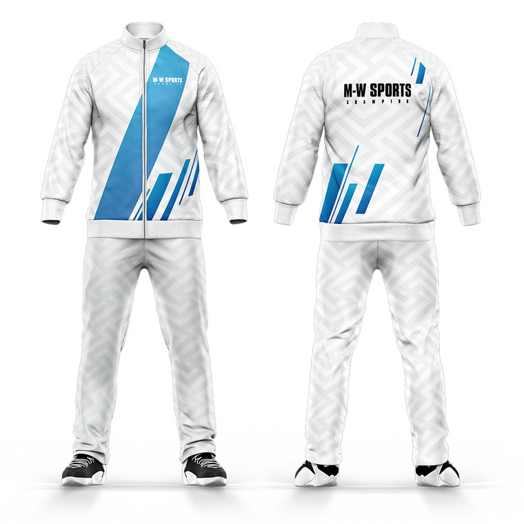 Design Your Own Tracksuit Custom Clothing Top And Bottom  Sets Mens White Tracksuit With Blue Stripe