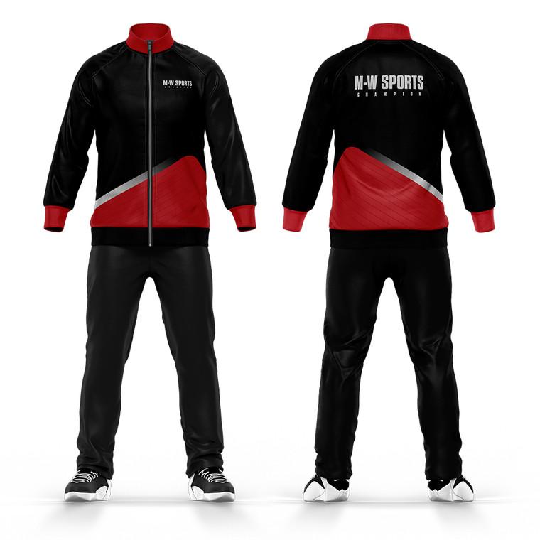 Top Fashion Trendy Tracksuits Custom Plain Black Red Tracksuit