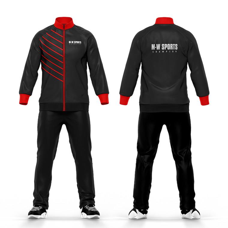 Wholesale Sport Winter Suits 100% Polyester Tracksuit Fabric Jogging Suits Men Blank Plain Black Tracksuit