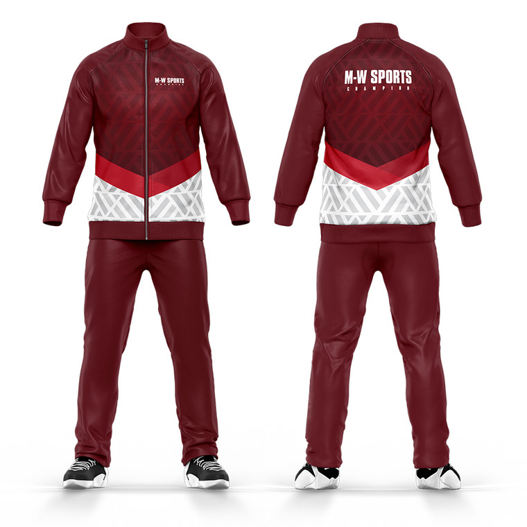 Wholesale Sublimation Men Top And Bottoms Tracksuit Maroon Design Your Own Logo Tracksuit