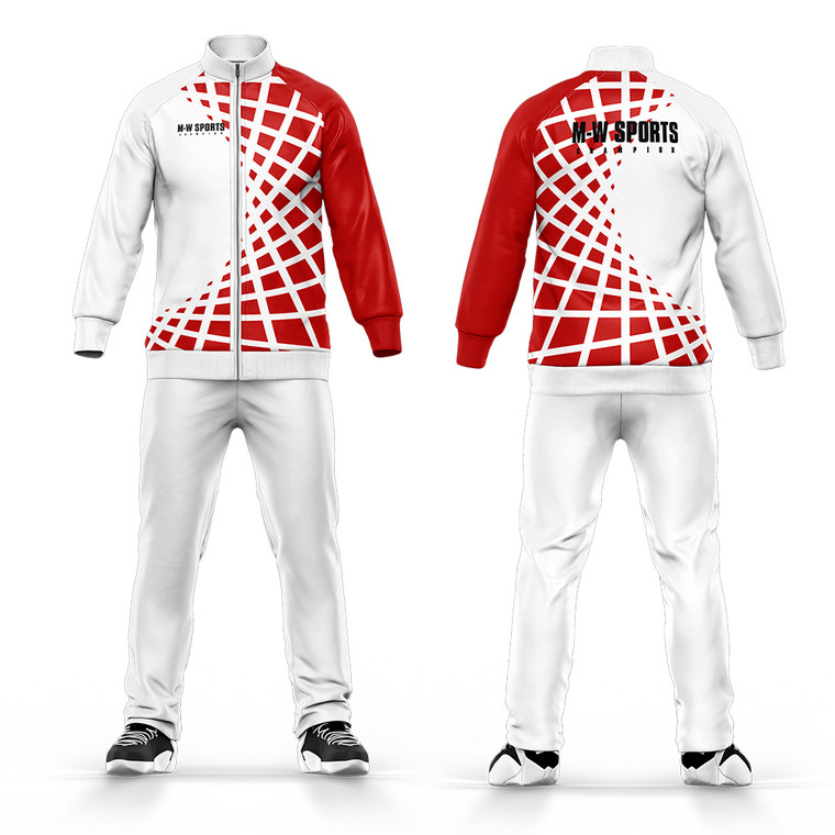 Tracksuit Custom logo And Pattrns 100% Polyester Sublimation White School Uniform Tracksuit