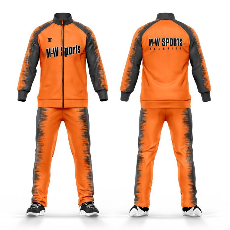 OEM Sportswear Jogger Suits Mens Plain Orange Jogging Tracksuits