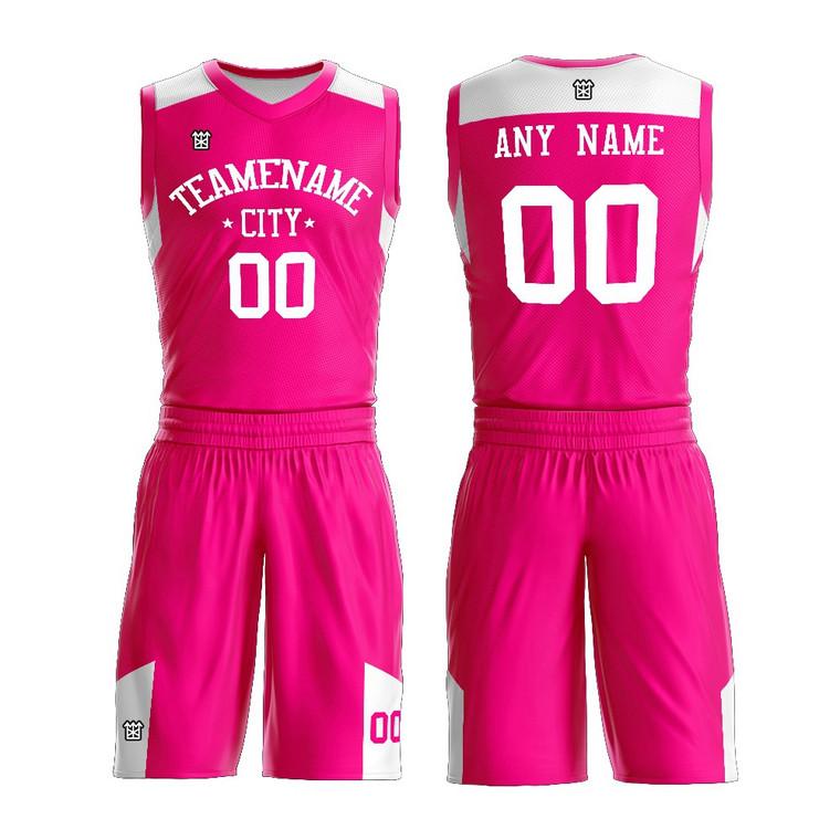 Custom Women Basketball Uniform Sublimation Printing Blank Pink Lady Basketball Jersey Wear