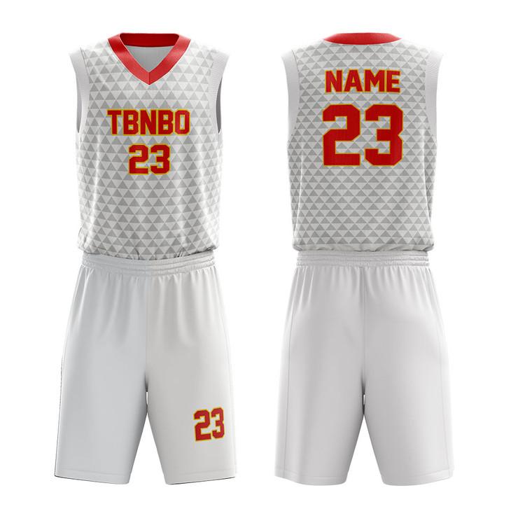 Basketball Wear Design Custom Sublimated Triangle Patterns Basketball Uniform For Teams