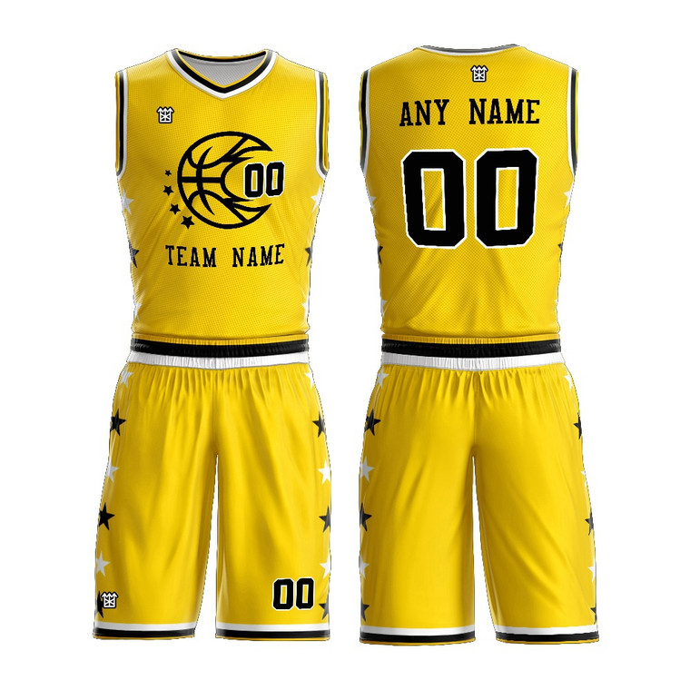 Basketball Jersey Uniform Design Color Yellow New Style Customized Name And Number Basketball Jersey