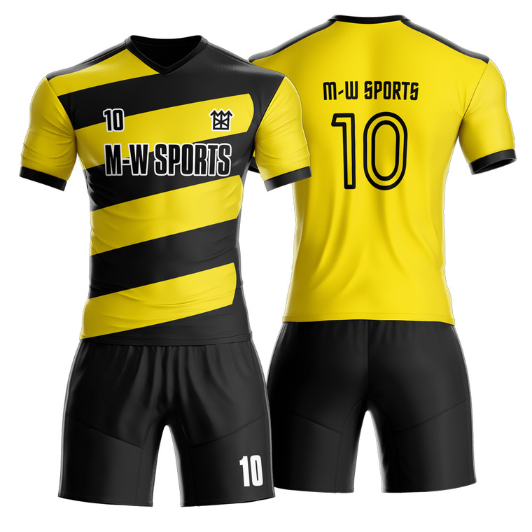 College Football Club Wear Best Thai Quality Black With Yellow Stripes Soccer Jersey Football Shirt