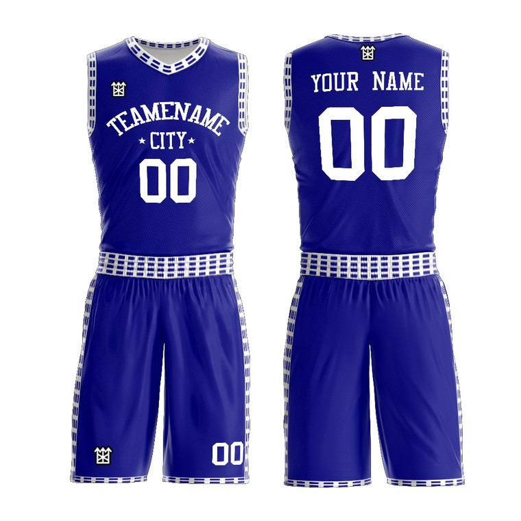 100% Polyester Basketball Vest And Shorts Color Royal Blue And White Custom Design Reversible Basketball Uniform